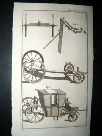 Carriages, Cart 1763 Antique Print. Gentleman's Magazine